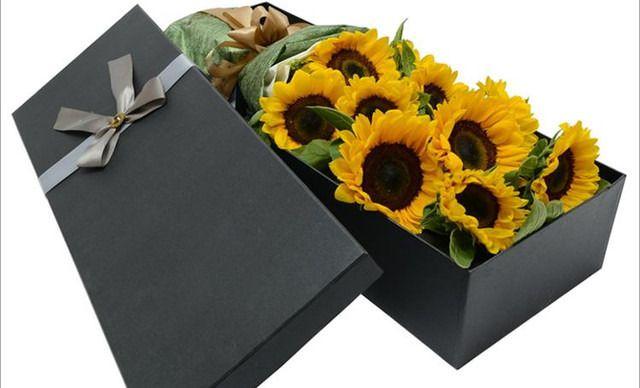 百合花艺坊6支向日葵花束礼盒包装生日鲜花礼品全国市区专人配送