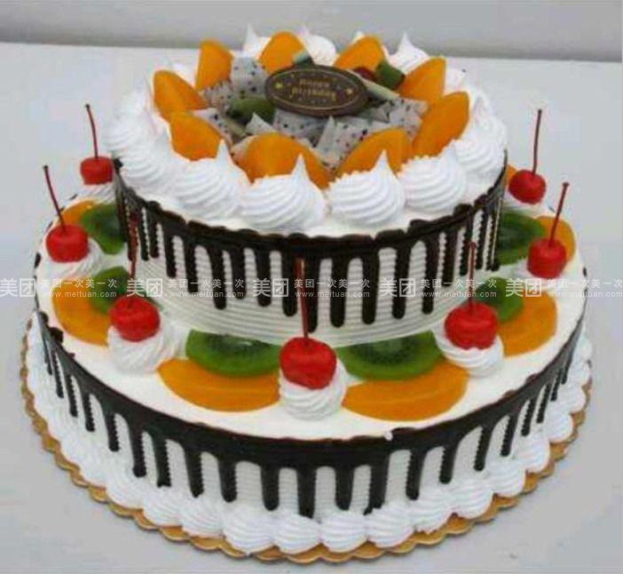 双层欧式水果蛋糕图片