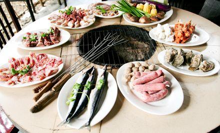 单人自助烧烤,有海鲜、烤肉,美味独享