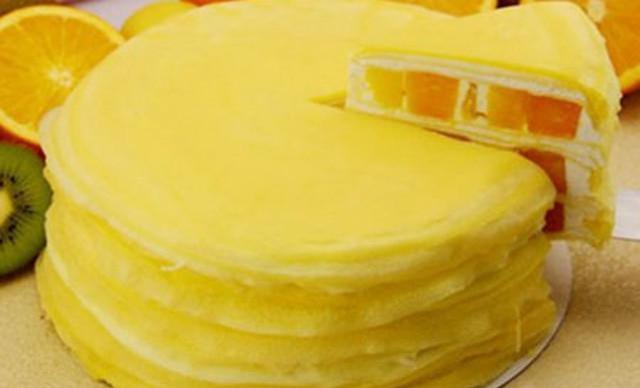 :长沙今日团购:【勺子甜品】芒果千层1个,约8英寸,圆形