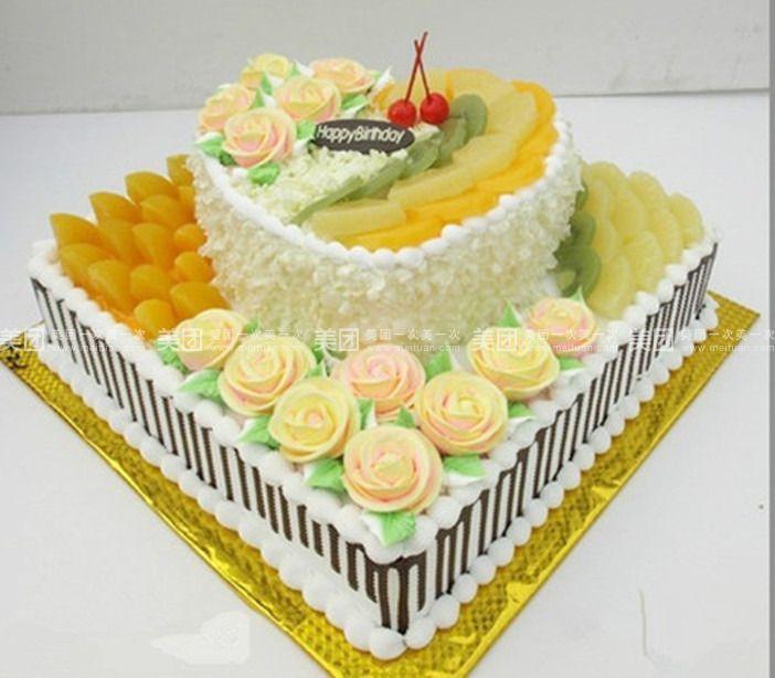 欢乐水果   简爱   规格   蛋糕类型 12英寸 方形 双层水果蛋糕