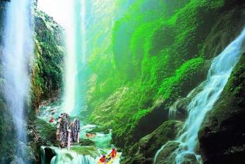 【清新区】古龙峡漂流全程飞龙漂流票+山水乐园成人票-美团