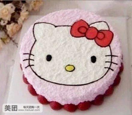 美食团购 甜点饮品 聚优美蛋糕   hello kitty1号规格:约2 磅 1,圆