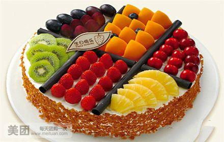 美食团购 甜点饮品 纽罗宾蛋糕   鲜果缤纷规格:约12 英寸 1,圆形