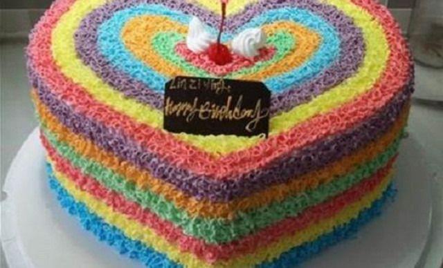 彩虹蛋糕1个,约8英寸,桃心形