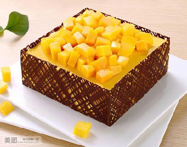 【美客蛋糕】9英寸榴芒双拼/榴莲/芒果慕斯蛋