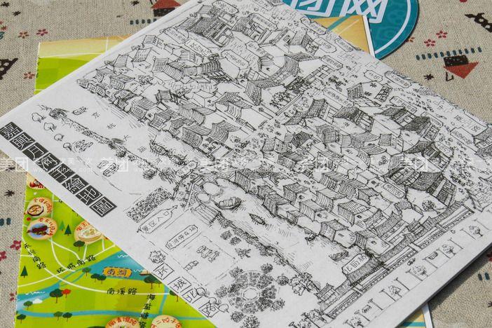 月河手绘地图明信片