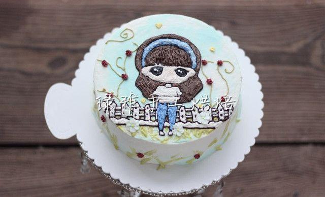 【绿雅手工烘焙】3d刺绣蛋糕1个,约6英寸,圆形