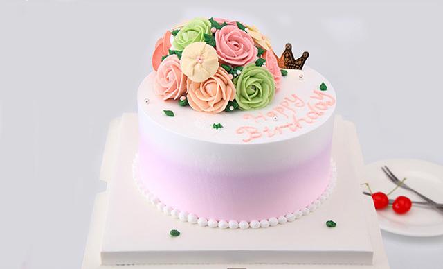 :长沙今日团购:【佶米蛋糕】花之恋(进口安佳淡奶油+两层新鲜水果)1个,约6英寸,圆形