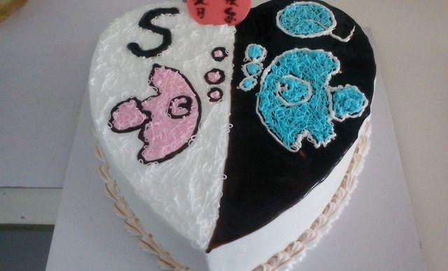 diy黑白桃心创意蛋糕1个,约6英寸,心形