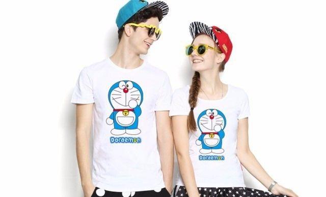 :全国今日团购:【哆啦A梦情侣装T恤】正版授权卡通机器猫蓝胖子T恤衫