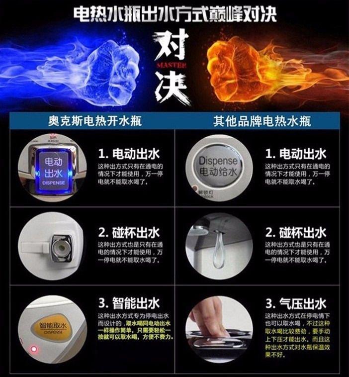 【奥克斯智能电热水瓶团购】奥克斯智能大容量电热5l
