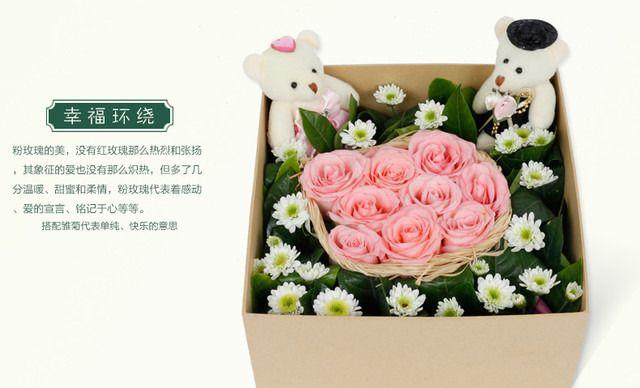 :长沙今日团购:【绿韵花艺鲜花店】Onlyyou鲜花9朵小熊花盒3选1套餐