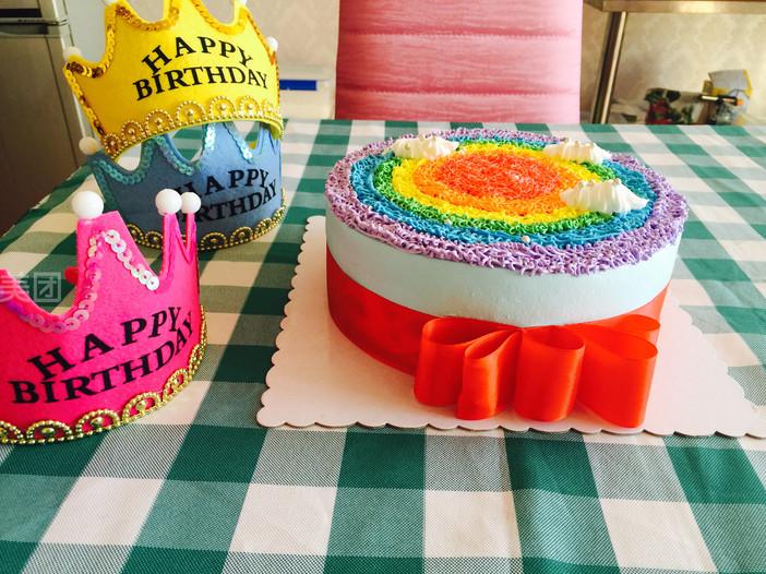 美食团购 甜点饮品 bobo蛋糕制做    圆形彩虹蛋糕   半圆形彩虹蛋糕