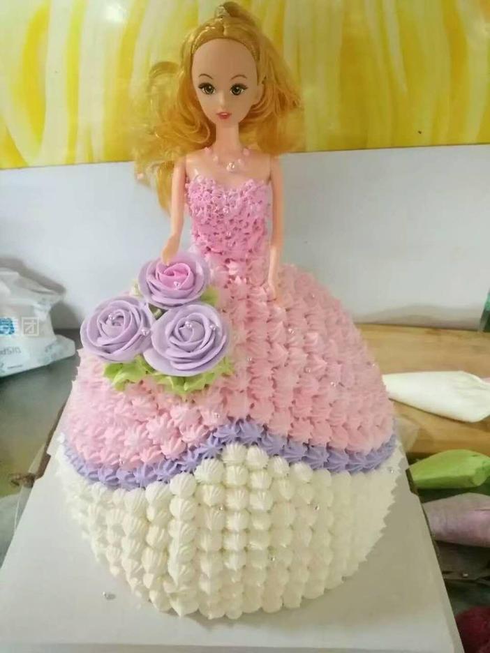 14寸双层芭比娃娃蛋糕图片