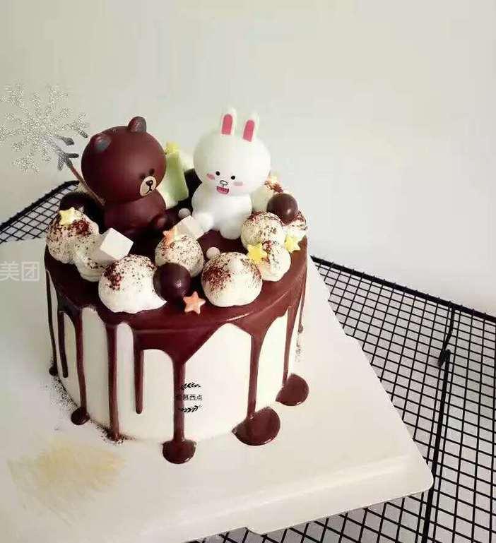 美食团购 甜点饮品 爱慕西点   布朗熊可爱兔规格:约 8  英寸 1,圆形