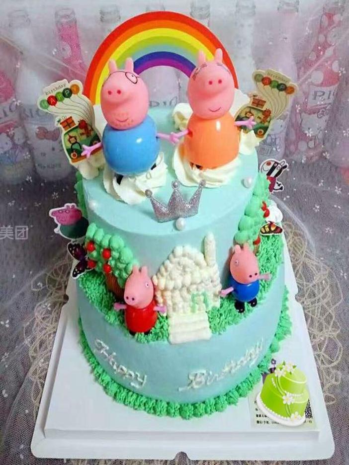 33 厘米   童话双层儿童蛋糕   幸福猪双层儿童蛋糕   可爱天使双层儿