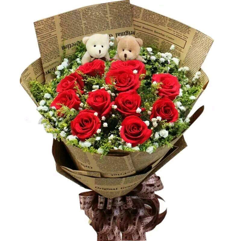 爱尚鲜花怎么样_团购爱尚鲜花-11枝韩式英文报纸鲜花