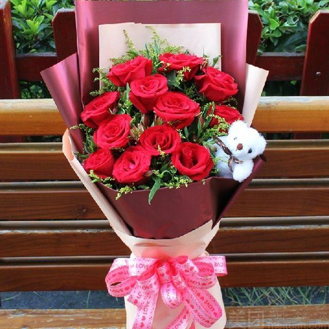 :长沙今日团购:【水牛石花坊】WS -11支红玫瑰花束