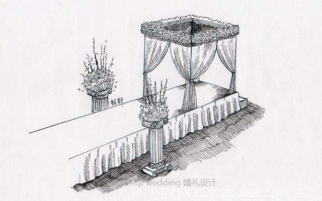 婚礼手绘素描现场布置效果图片