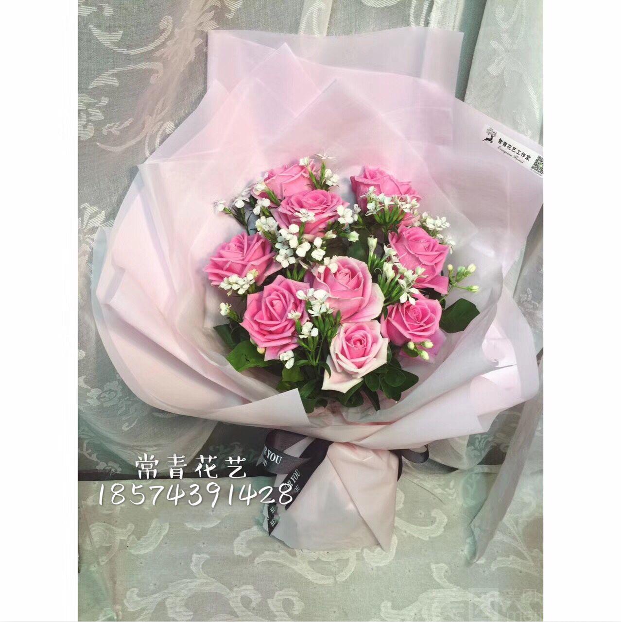 :长沙今日团购:【常青花艺工作室】9朵玫瑰花束