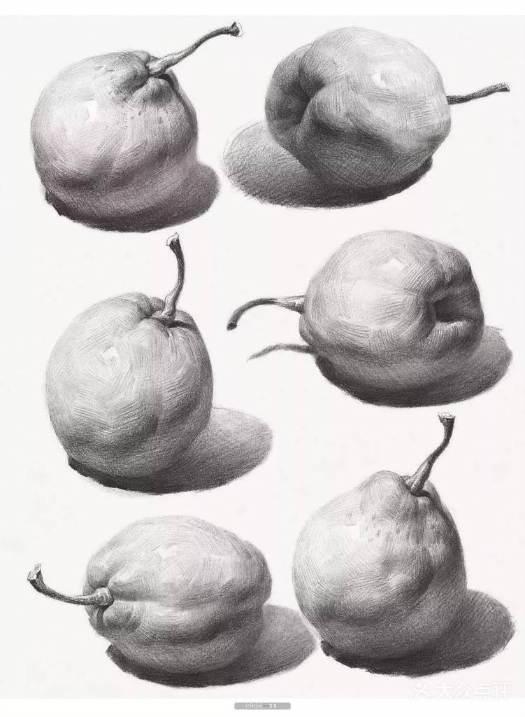 结构素描单个苹果  第5节:结构素描单个雪梨  第6节:结构素描组合水果