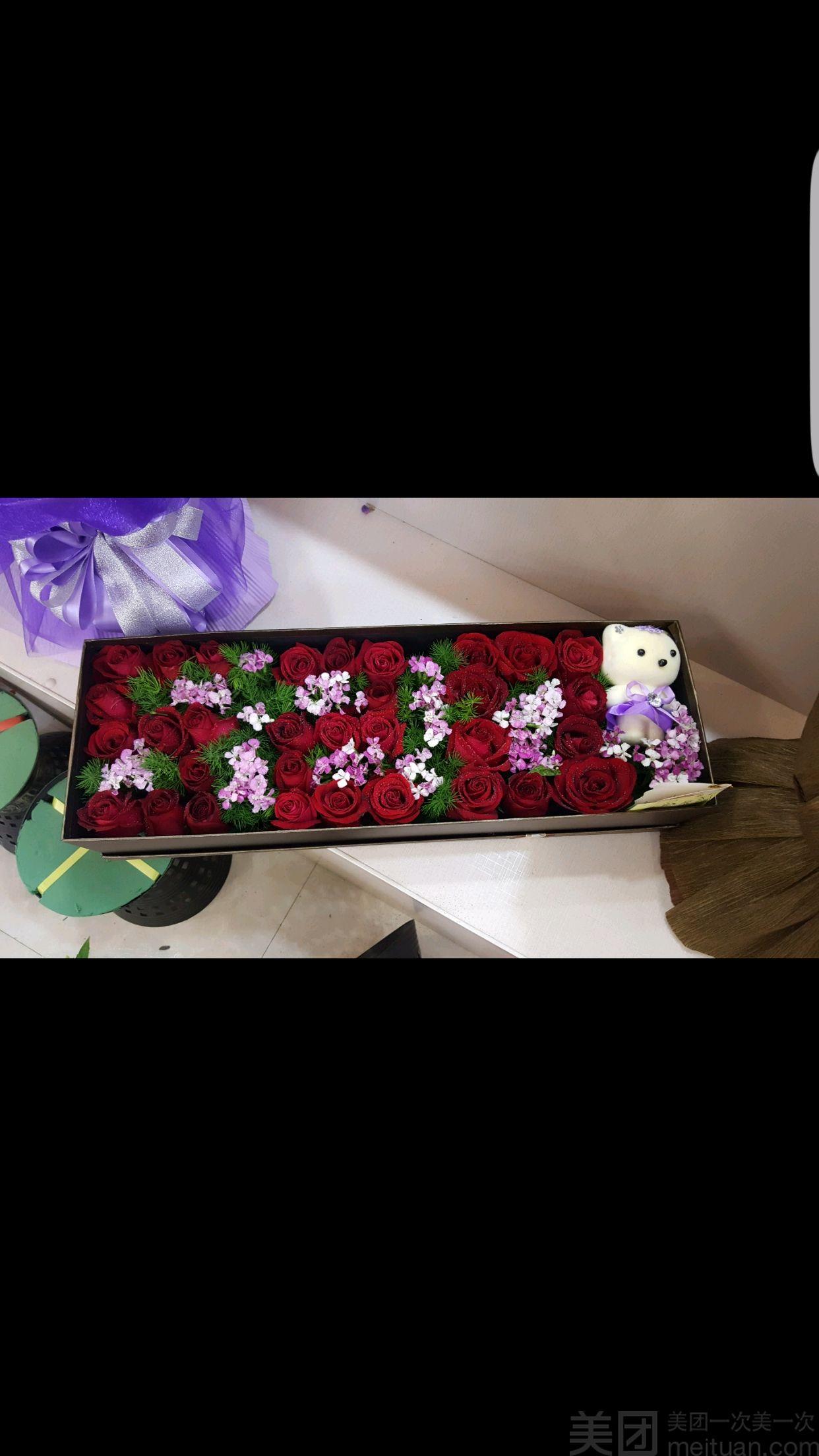 ♥优雅告白♥七夕LOVE玫瑰礼盒-美团