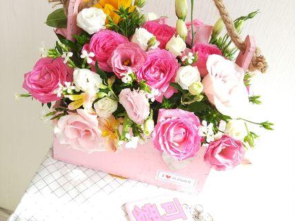 i floweri flower-可爱小清新木艺花篮-长春美团网