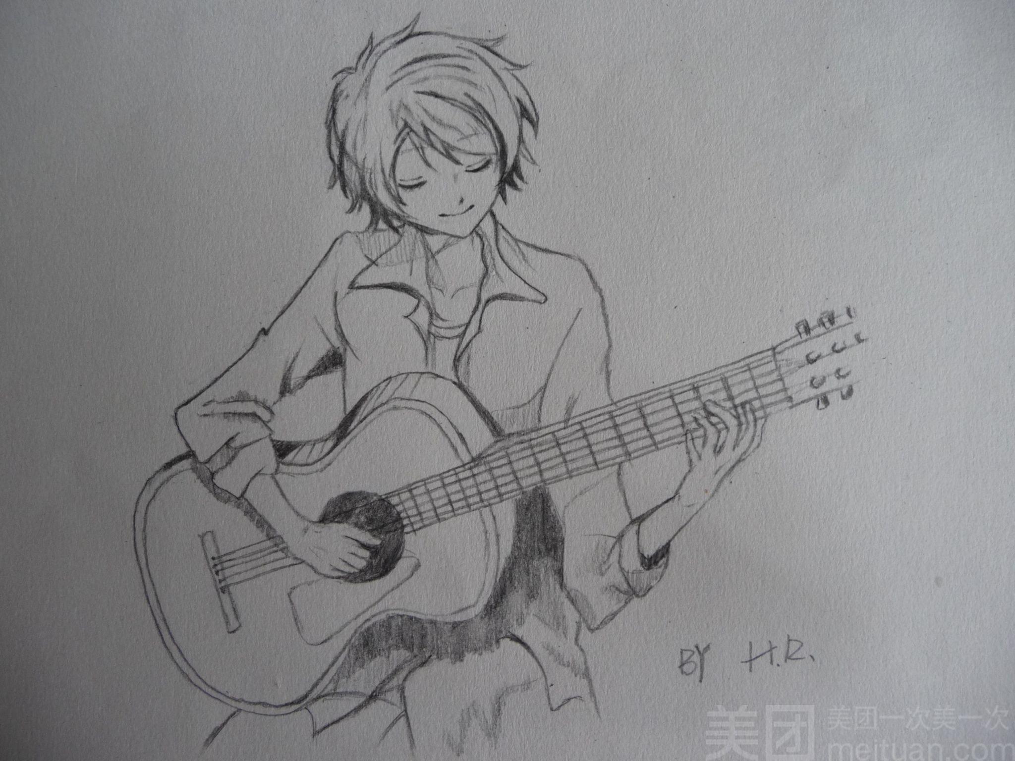 素描吉他图片步骤