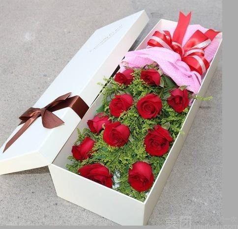 团购水木清华 11支玫瑰装花束礼盒 美团网