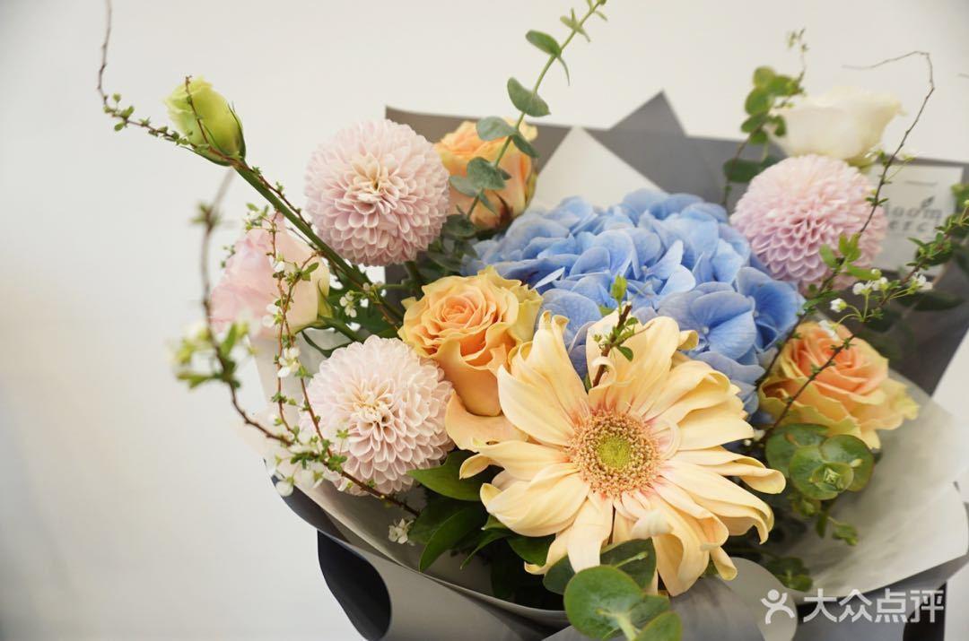 非洲菊蓝绣球鲜花花束 梦想之光