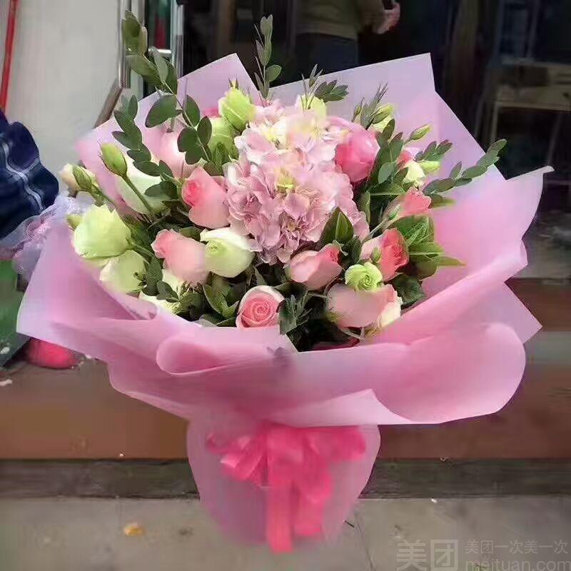 仅售186,价值388元进口优质彩玫瑰加绣球,韩式定制包装花束,七夕