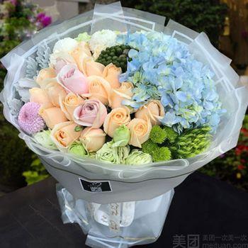 【北京等】急派鲜花丨韩式欧式时尚精包装花束-美团