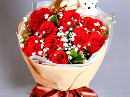 特爱鲜花速递特爱鲜花速递-11支玫瑰加2只可爱小熊