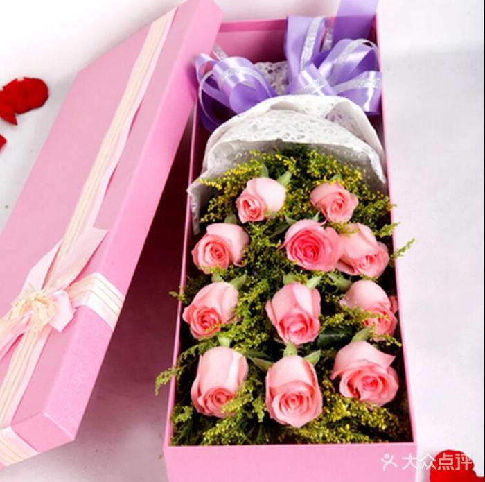 百合鲜花(泡崖市场店)11支粉玫瑰礼盒图片图片