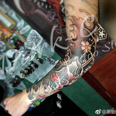 丽人 纹身图库 日式浪花臂纹身款式图  7650 浪花 花臂 花