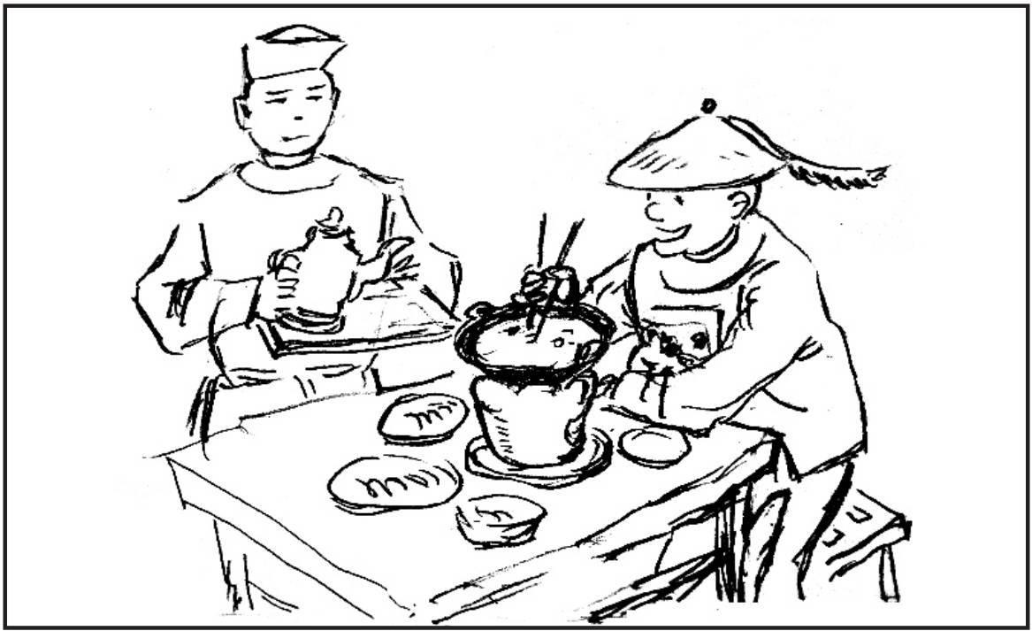 手绘重庆火锅简笔画
