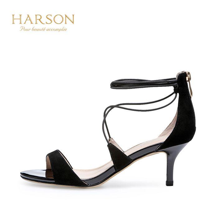 哈森2018夏季新款小猫跟女鞋 羊反绒露趾细带细跟凉鞋hm86027图片