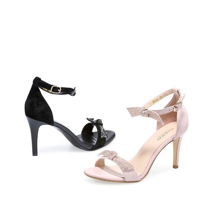 哈森2018夏季新款女鞋 羊皮水钻蝴蝶结一字带细高跟凉鞋女hm82440图片