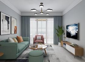 70平米三室兩廳北歐風格客廳裝修圖片大全