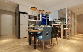 80平米三室两厅现代简约风格餐厅设计图