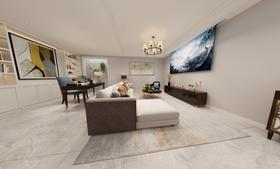 富裕型140平米三室两厅美式风格影音室设计图