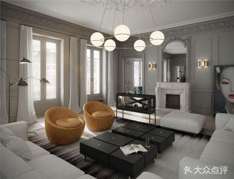 130平米三室一厅混搭风格客厅图片大全