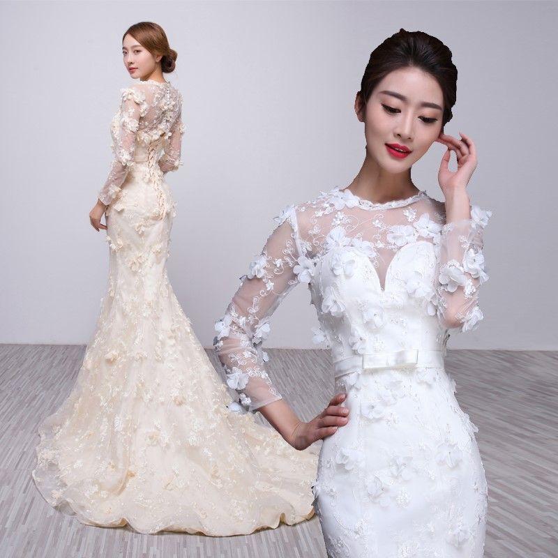 鱼尾裙摆婚纱打造魅力新娘