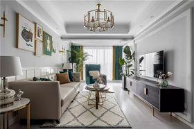 120平米三室一廳美式風格客廳圖