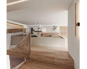 60平米复式现代简约风格阁楼效果图