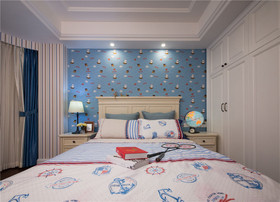 20万以上110平米三室一厅美式风格卧室图
