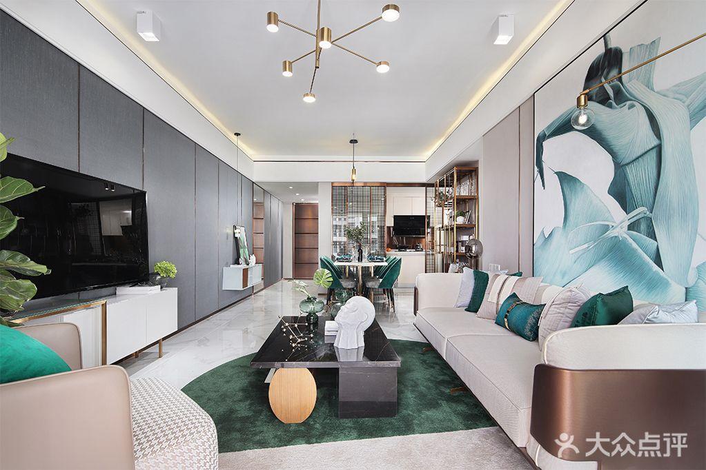 110平米四室两厅现代简约风格客厅设计图