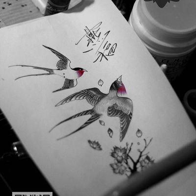 燕子手稿纹身图-大众点评纹身图案大全