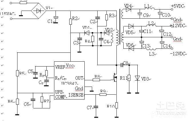 这个电源的输出电压等级有三种:5vdc, 12vdc,-12vdc.